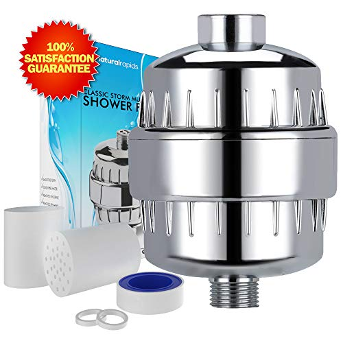 Tape Sensitive Use Pressure (Universal Shower Head Water Filter - Works Best to Remove Chlorine & Hard Water with any Showerhead - 2 Water-Softener Replaceable Multi-Stage Cartridges - By Natural Rapids, Chrome)