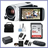 Canon VIXIA HF R800 Full HD Camcorder [White] Bundle, includes: 64GB SDXC Memory Card, AC/DC Travel Charger, Spare Battery and more...