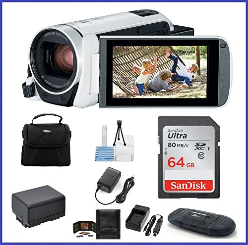 - Canon VIXIA HF R800 Full HD Camcorder [White] Bundle, Includes: 64GB SDXC Memory Card, AC/DC Travel Charger, Spare Battery and More.