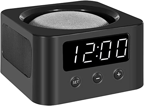 Universal Clock Stand and Docking Station for Google Home Mini, Amazon Echo Dot 3rd Gen , etc. – Black