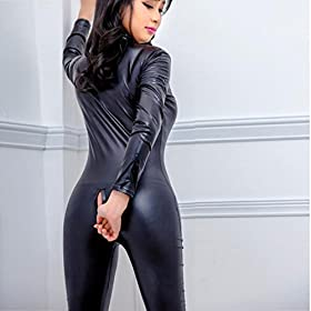 - 51cU0e0H91L - Women Sexy Faux Leather Wet Look Zipper Catsuit One Piece Metallic Crotchless Bodysuit Clubwear