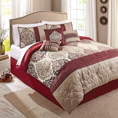 Better Homes and Gardens 7-Piece Bedding Comforter Set, Red Ikat, King