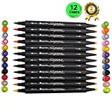 Magicdo® 12 Pcs, Dual Tip Watercolor Brush Pen Water Based Markers for Sketching, Painting and Coloring, Water Soluble Marker Pen with Water color brush tip and Water color fine tip (12) by Magicdo