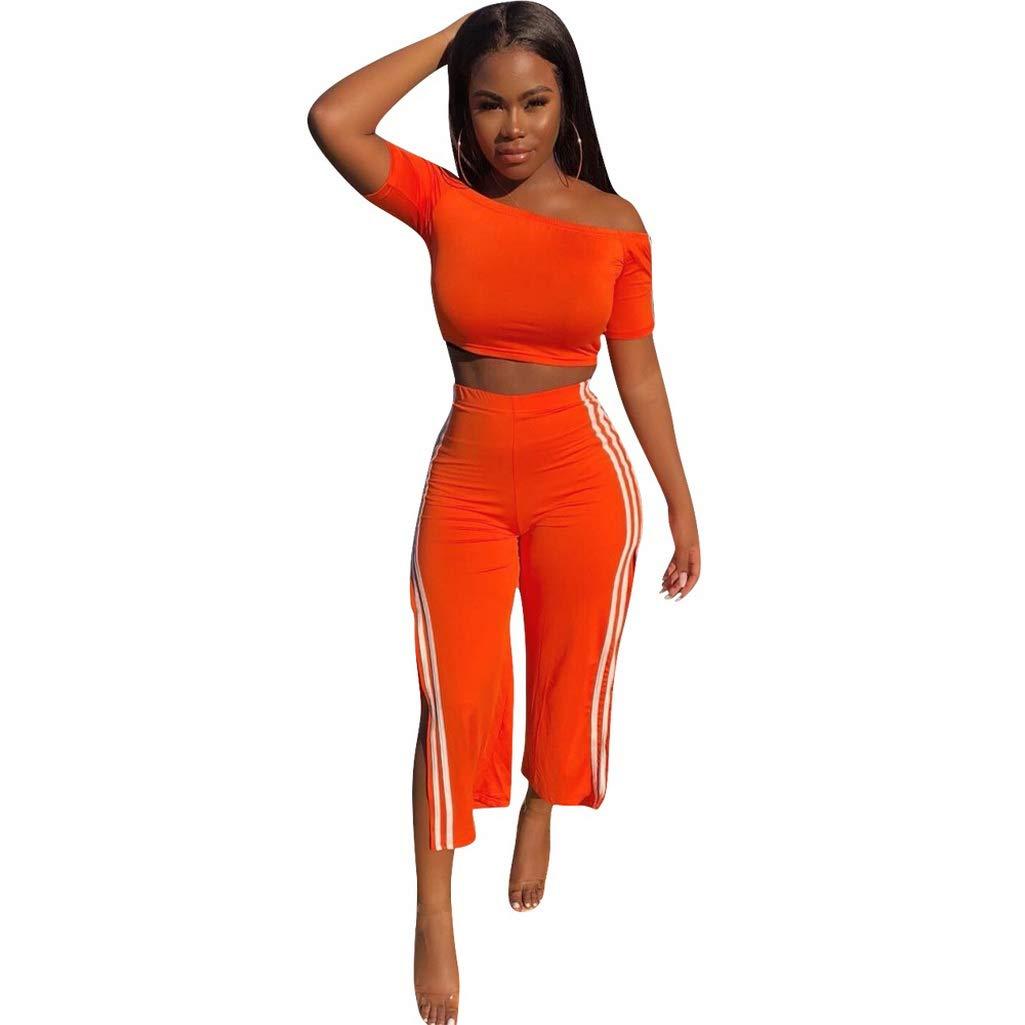 Fafalisa New Women Off Shoulder Short tee top high Side Split Ankle Length Pants Suit 2pcs Set Tracksuit Summer Outfit(Orange,S)