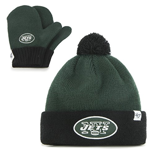 NFL New York Jets Toddler '47 Brand Bam Bam Cuff Knit Pom Hat and Mittens Set, Dark Green (Green Hat York Jets)