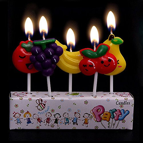 Cartoon Fruit Candles Kids Happy Birthday Party Decoration Cake Toppers (1 set=5 pcs)