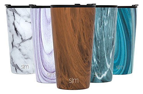 Simple Modern Pint 16oz Tumbler - Vacuum Insulated Stackable Kitchen Glass Cupholder Friendly - 475 ml Double Wall Brown 18/8 Stainless Steel - Wood Grain (Coffee Cups Brown Glass)