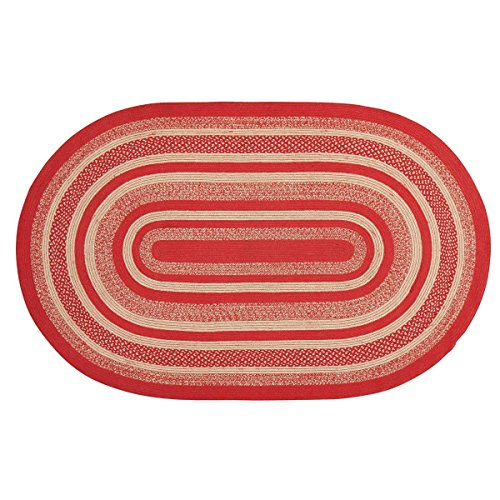 - Christmas Classic Country Flooring - Cunningham Jute Red Oval Rug, 5' x 8'