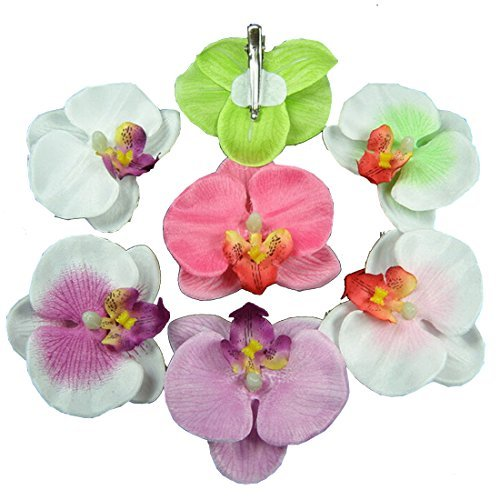 Neevas Lot 10pcs Fabric Orchid Flower Hair Clip Bridal Wedding Hawaii Party Prom