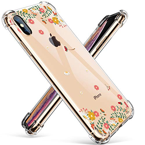 GVIEWIN Compatible for iPhone Xs/X Case, Clear Flower Pattern Design Soft & Flexible TPU Ultra-Thin Shockproof Transparent Girls Women Floral Cover, Cases iPhone X/iPhone 10 (Spring Flowers)