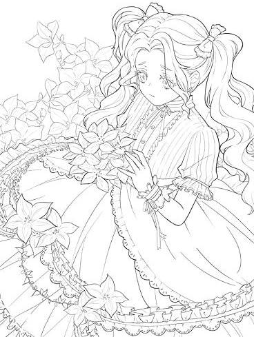 Amazon Co Jp 新しいかわいい花と女の子の塗り絵の秘密の庭スタイルの線画の本キルタイム絵画本 文房具 オフィス用品