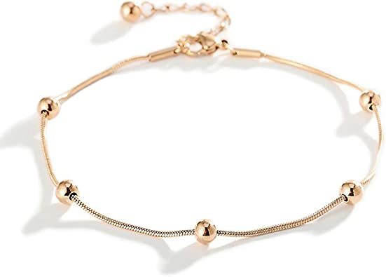 Stainless Steel Beach Anklets Ankle Bracelets for Women Rose Gold Plated Foot Chain Heart Elephant Bead Anklet for Teen Girls