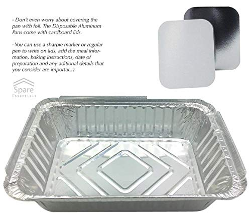 55 Pack - 2.25 LB Aluminum Pan/Containers with Lids/To Go Containers/Aluminum Pans with Lids/Take Out Containers/Aluminum Foil Food Containers From Spare - 2.25Lb Capacity 8.5'' x 6'' x 1.5'' by Spare Essentials (Image #3)