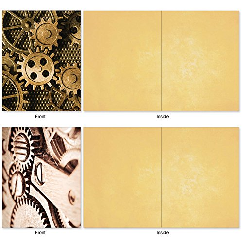 M2014 Gearing Up: 10 Assorted Blank All-Occasion Note Cards Feature Cogs, Gears and Other Things That Make Machines Tick, w/White Envelopes. Photo #4
