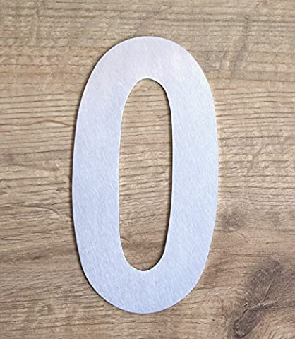 COBBLER House number 0, brushed stainless steel, type 1, 7 inch (Steel House Numbers)