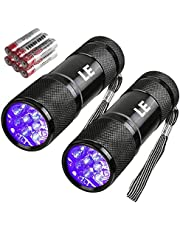 LE Black Light Flashlight, Small UV Lights 395nm, Portable Ultraviolet Light Detector for Invisible Ink Pens, Dog Cat Pet Urine Stain, AAA Batteries Included, Pack of 2