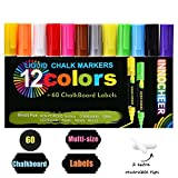 Chalk Markers 12 Pack with 60 Pcs of Multi-Size Chalkboard Labels, Reversible Tips - Non-Toxic, Odorless, Erasable by INNOCHEER