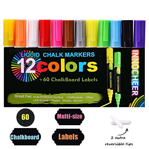 Fluorescent Markers 12 Pack with 60 Pcs of Multi-Size Chalkboard Labels, Reversible Tips - Non-Toxic, Odorless, ()