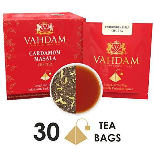 Cardamom Chai Tea - 30 Pyramid Tea Bags - 100% NATURAL CRUSHED CARDAMOM blended with Garden Fresh BLACK TEA, India's Original Cardamom Tea Blend, Packed at Source, (2 Boxes, 15 Tea Bags Each) by VAHDAM