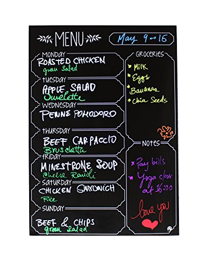 - Iebbie-Black Dry Erase Durable Magnetic Menu Board For Refrigerator-3MM Thick Premium Vinyl- Daily/Weekly Meal Planner- 12
