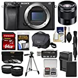 wi f - Sony Alpha A6300 4K Wi-Fi Digital Camera Body (Black) with 50mm f/1.8 Lens + 64GB Card + Case + Battery & Charger + Tripod + Filters + Kit