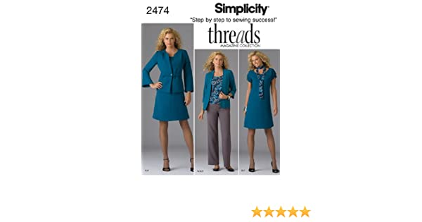 Simplicity Threads Magazine Pattern 2474 Womens Dress or Top Jacket Scarf Knit Cardigan Size 10-18 Pants