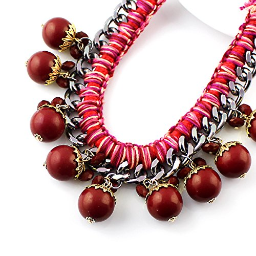 Indian Jewelry Short Choker Necklace Blue Red Big Beads Created Gemstone Necklace for Women with Free Jewelry Pouch (red)