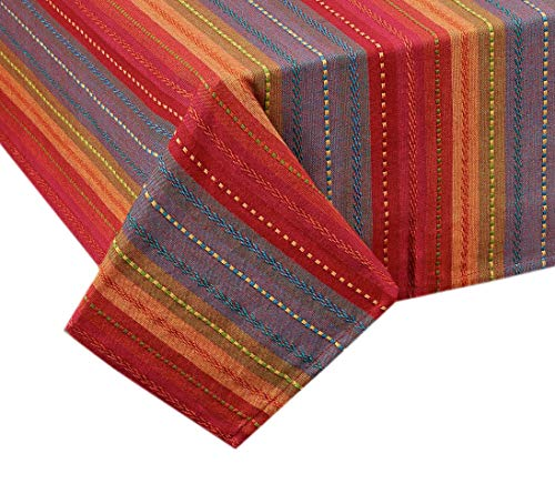 (Lintex Southwestern Phoenix Stripe Indoor/Outdoor Casual Cotton Tablecloth, Textured Woven Rustic Striped Kitchen, Patio and Dining Room Tablecloth, 52 x 70 Oblong/Rectangle,)