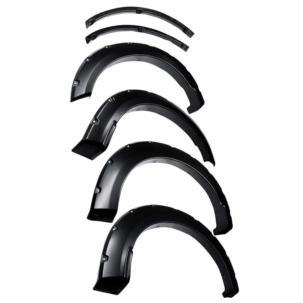 Tyger Auto TG-FF8F4378 for 2018-2019 Ford F150 4 Piece Smooth-Textured Matte Black Pocket Bolt-Riveted Style Fender Flare Set