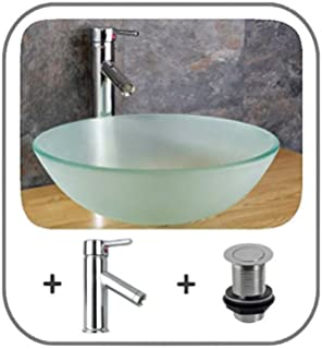 Clickbasin Soria 35cm Frosted Glass Circular Countertop Sink With Pop Up  And Tap Part 66
