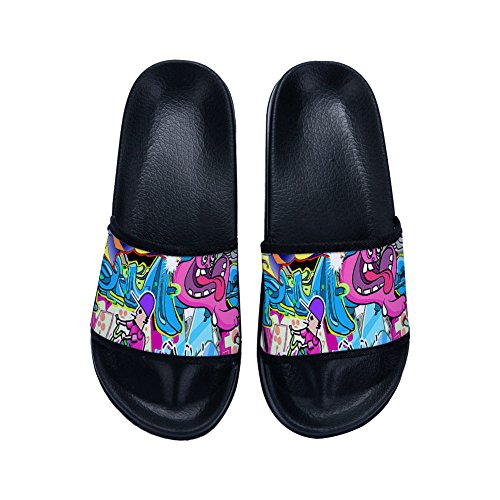 Quick Non Womens Buteri for Doodle Slip Slippers Drying Black Slippers IqIx647wE