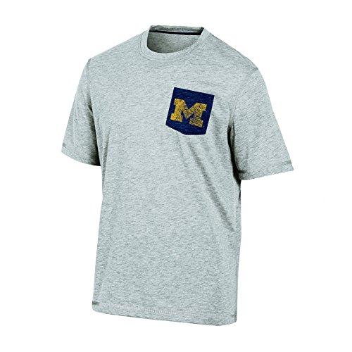 NCAA Michigan Wolverines Men's Poly Pocket Tee, Large, Gray Heather