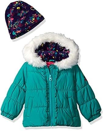 London Fog Baby Girls Winter Coat with Hat & Scarf, Dark Aquamarine, 12MO
