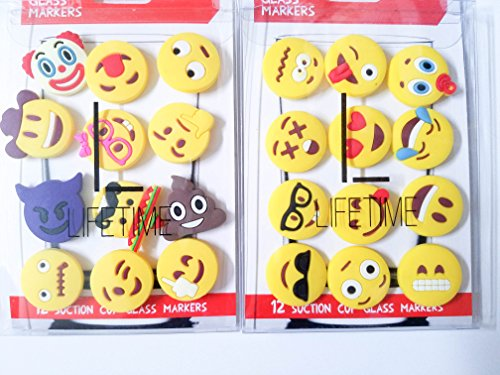 Emoji Charms with Suction 12 Pack, Perfect Markers for Everything from Wine Glass to Red Cups! Lifetime - Tween Glasses