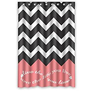 "Infinity Live The Life You Love,Love The Life You Live Chevron Pattern Pink Black White Waterproof Bathroom Fabric Shower Curtain,Bathroom Decor 48"""" x 72"""""
