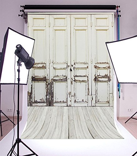 5X7FT Laeacco Vinyl Thin Backdrop Photography Background Whitish Ancient Door Weathered Floor Wood Backdrop Retro Rural House new born baby photo shooting Children Adults Portraits Photo Studio Props (Doors Retro)