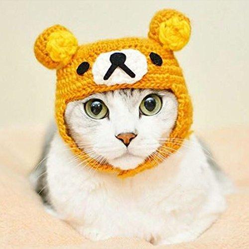 Pet Hat - Cat Yarn Bear Hat Handmade Autumn Winter Warm Cute Cap Apparel Christmas Gift for (Cat And Ball Of Yarn Costume)