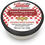 Dirty Mouth Organic Sweet Toothpowder BEST All Natural - Tooth Powder Gently Polishes, Detoxifies, Re-Mineralizes and Strengthens Teeth - Primal Life Organics (Sweet Peppermint 1oz)