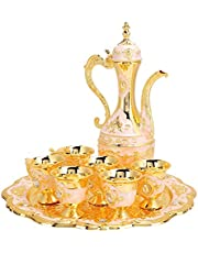 Household Ornaments, Metal Wine Drinking Cups Beautiful Russian Style Home Art Crafts Simple Wine Pot Kit for Dining Table for Kitchen Bedroom for Wedding Gift(White Powder)