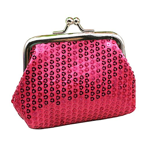 (Women's Sparkly Bling Coin Purses Mini Sequin For Girl Fashion Girls Coin Purses bags (rose))