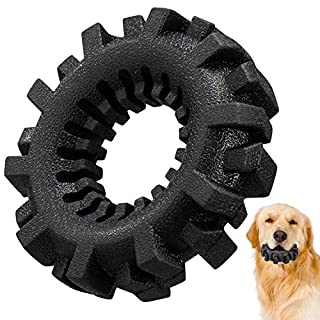Dog Chew Toys, Tires Dog Chew Toy for Aggressive Chewers, Ultra-Tough Teeth Cleaning Toys for Small/Medium/Large Dog, Durable Tires Dog Toy for Playing, Training, Teething (Black)