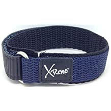 New X-Treme 16mm Tough Secure Hook & Loop Nylon Watch Band Strap Ladies Women's with Ring End - Dark Blue