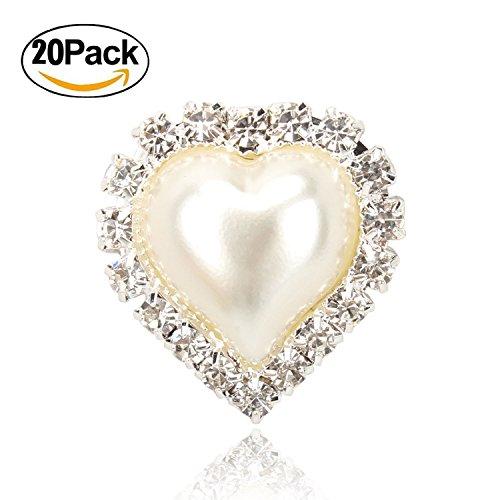 20 PCS Vintage Flatback Heart Faux Ivory Pearl Rhinestone Buttons Embellishments Bulk (Crystal Faux Brooch)