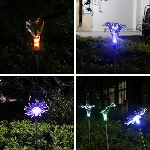 Tenswall LED Solar Garden Lights, Solar Garden Stake Light,Solar Powered Lights  Outdoor Multi Color Changing LED ...