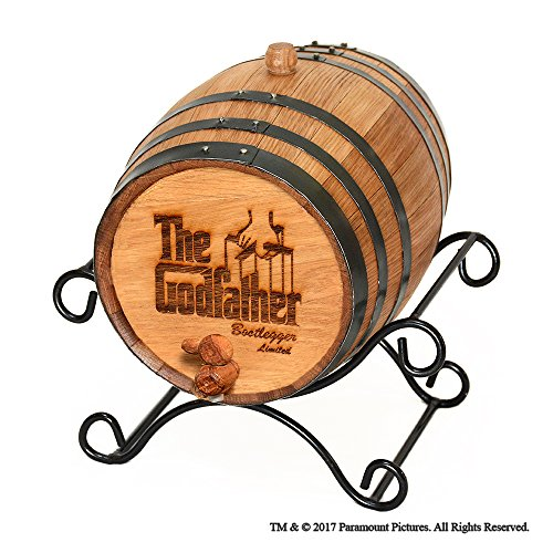 Movies On Glass - Personalized Godfather Movie Bootlegger Whiskey Barrel - 5 Liter by Godparent baptism gifts