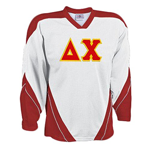 (Delta Chi Breakaway Lettered Hockey Jersey X-Large White/Red)