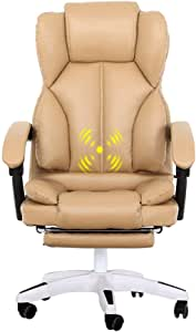Boss High Back Executive Office Chairs Leather Computer Desk Ergonomic Chair Multifunctional High-end Massage Chair Khaki