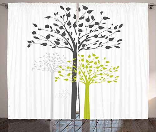 """Ambesonne Tree Curtains, Mother Nature Theme Fresh Trees with Leaves Pattern Ecology and Growth Theme, Living Room Bedroom Window Drapes 2 Panel Set, 108"""" X 96"""", Green White"""