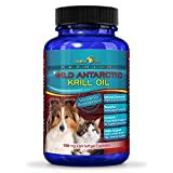 Pure Antarctic Krill Oil Capsules for Pets | All-Natural Omega-3 Fatty Acids Food Supplement w/ EPA DHA & Astaxanthin | Antioxidant Health Benefits for Dogs & Cats | More Potent than Fish & Salmon Oil