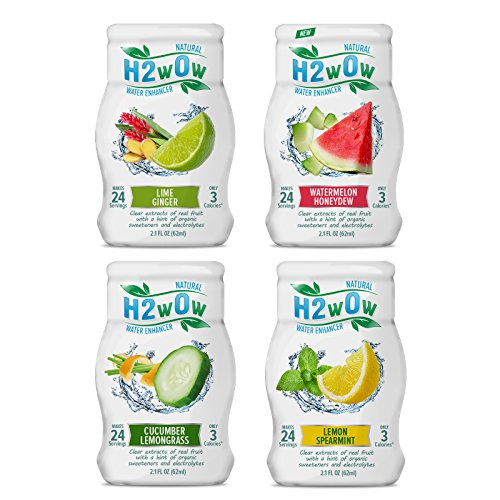 - H2wOw Water Enhancer Drops ORGANIC & Natural Extracts of Real Fruit - a Hint of Organic Stevia - 2.1oz bottles Variety 4 Pack